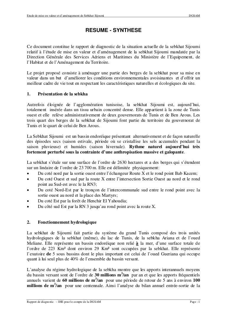 Produit Contre L Humidité Tunisie resume - synthese rapport de diagnostic de la situation