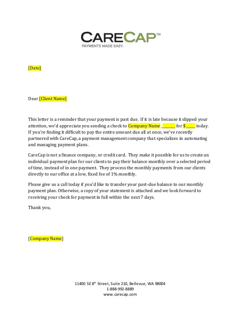 CareCap 31 89 day past due payment letter generic