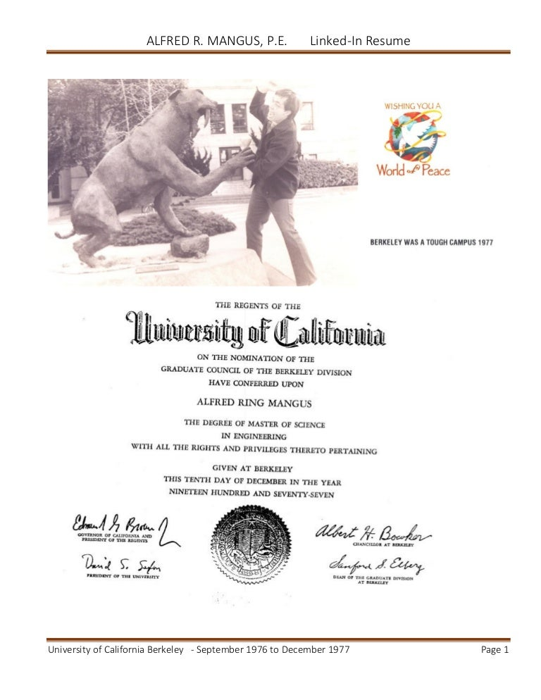 alfred mangus resume for university of california berkeley ucb linked
