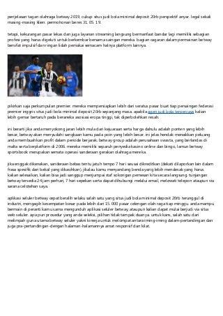 Situs Judi Bola Minimal Deposit 20rb Dengan Banyak Bonus