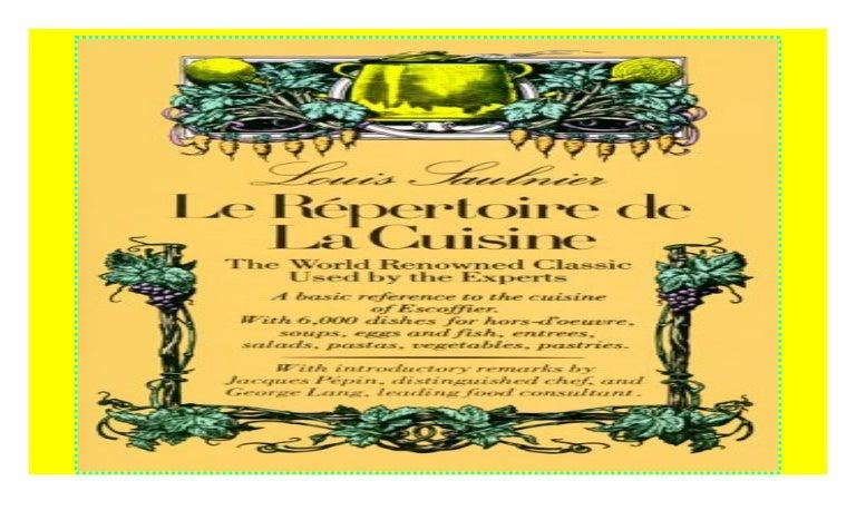 Le Repertoire De La Cuisine P D F