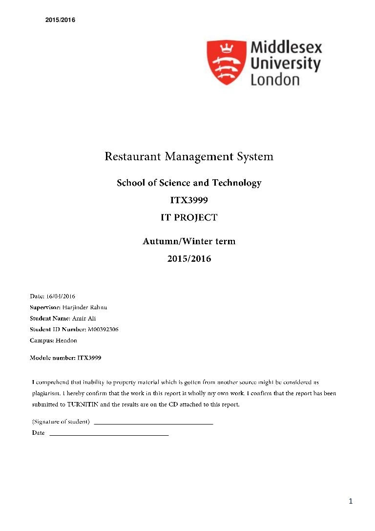 ITX3999 - Restaurant Management System Disseration