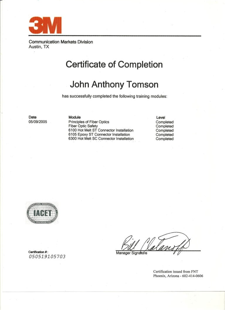 3m certificate of completion 5 09 05 xflitez Choice Image
