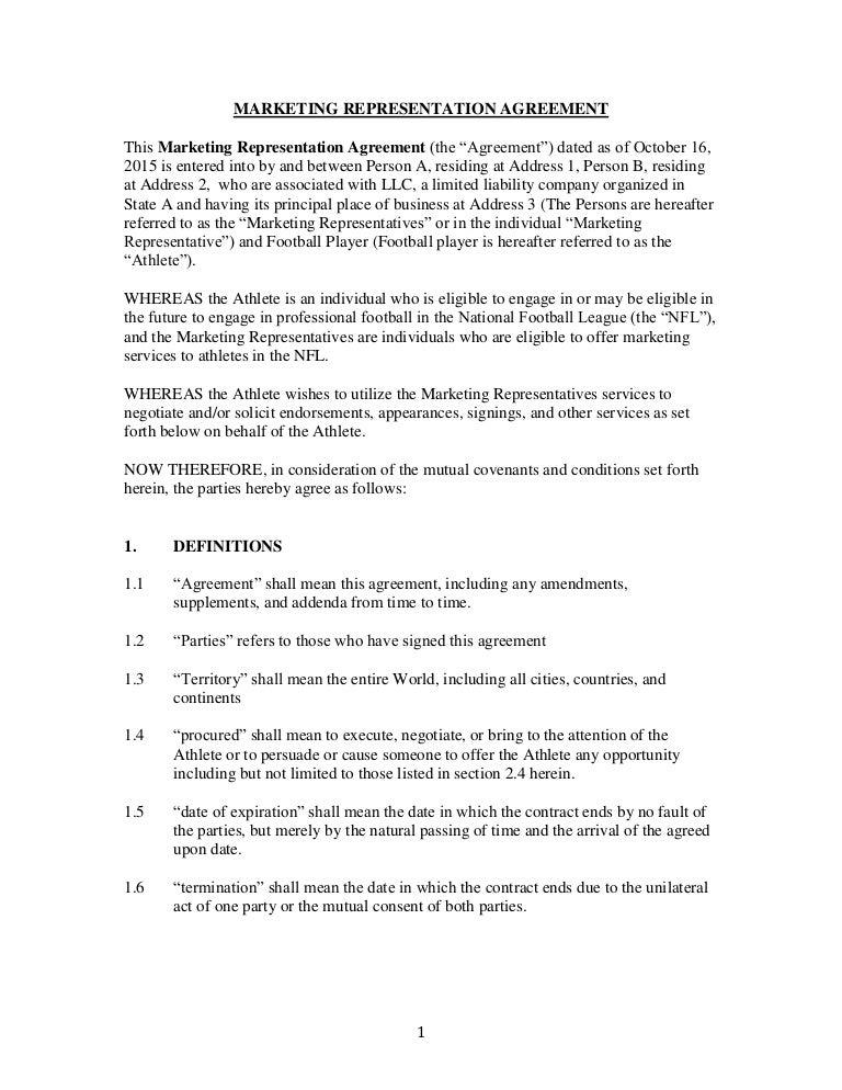 Marketing Representation Agreementsample