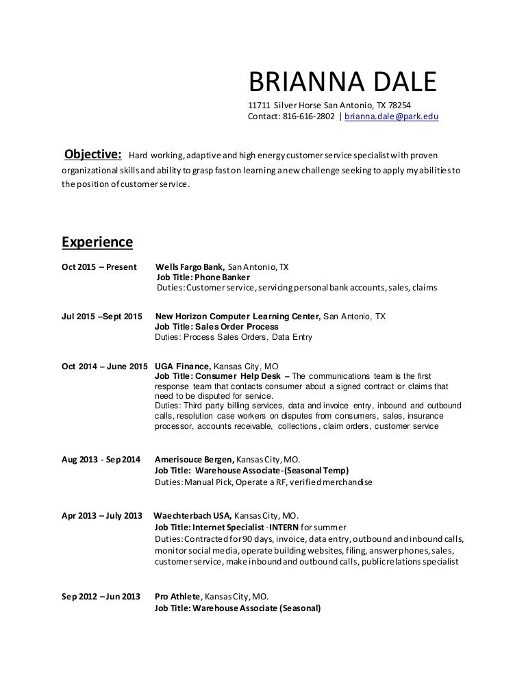 2016 Brianna Dale Resume