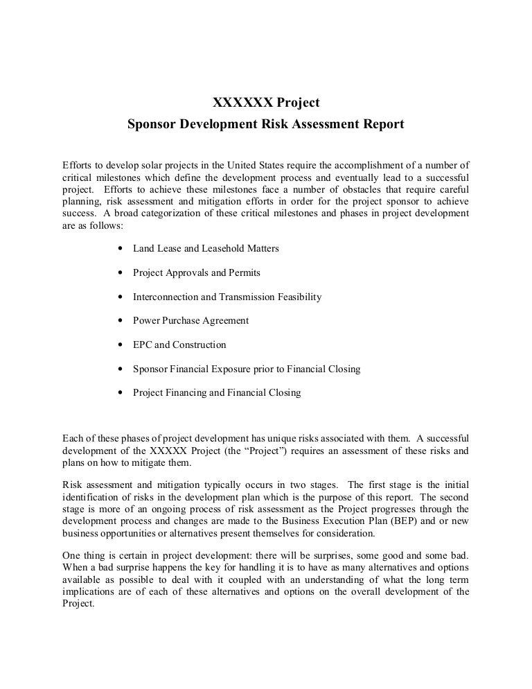 Example Sponsor Development Risk Assessment Report