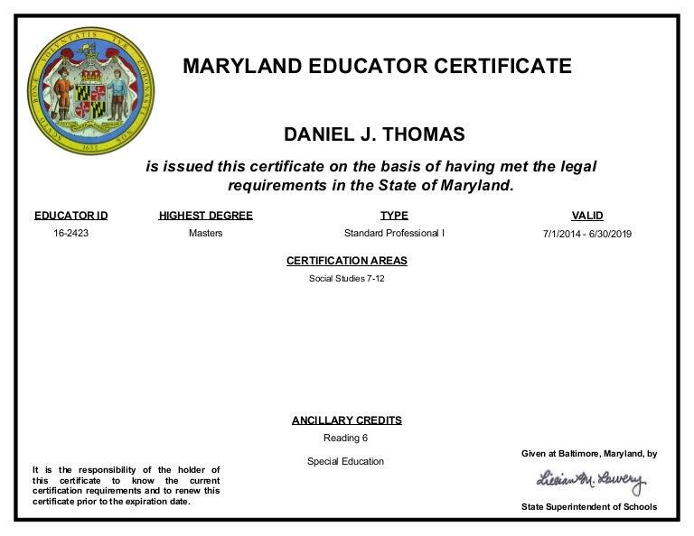 Maryland Teacher Certificate