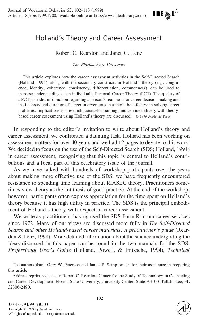 journal of holland s theory and career assessment