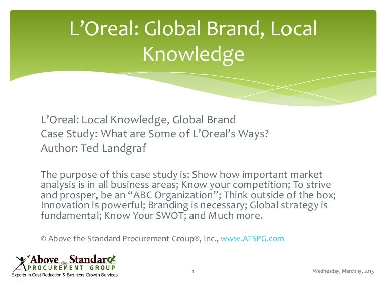 loreal global brand local knowledge One interviewer also pointed out that l'oreal was great from the outside looking in, but was a big monster once you got in the doors interview questions i was asked about my experiences in marketing, social media, product development, and familiarity with the skincare industry (it was for a brand in acd.