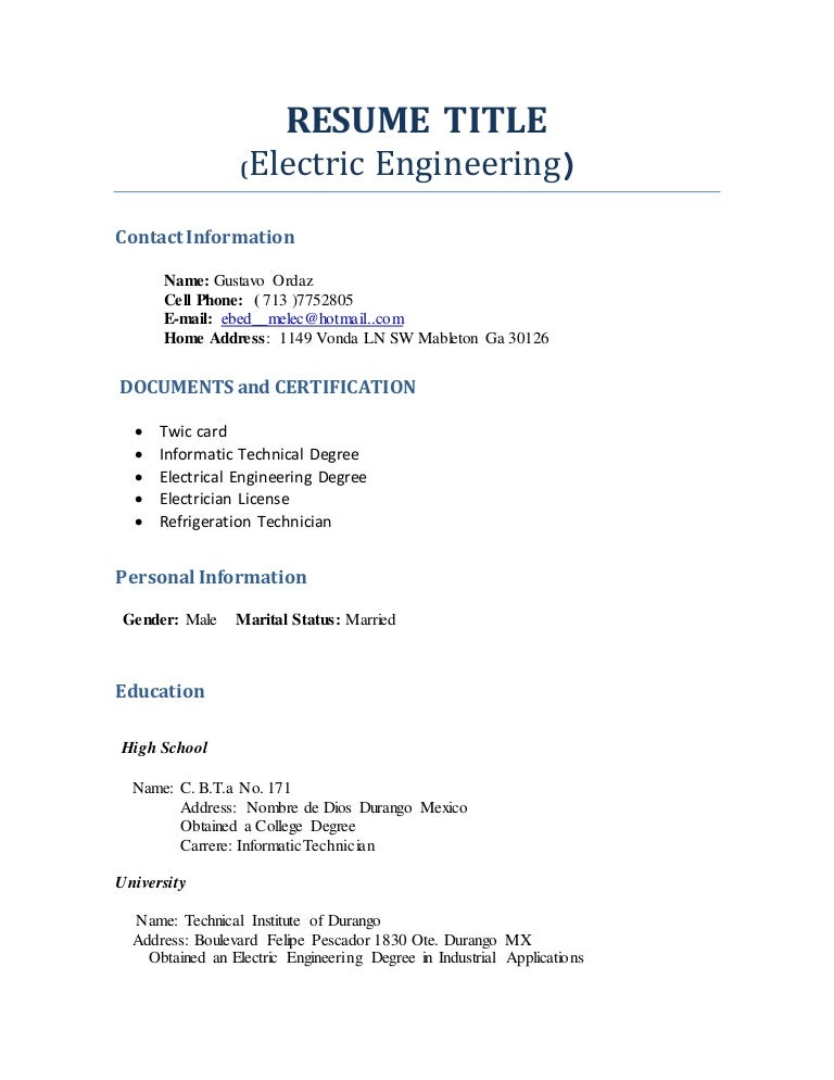 RESUME TITLE (Profesional Engineering)