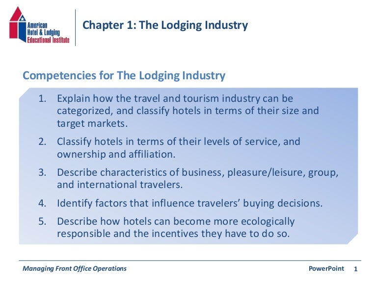Chapter 1 The Lodging Industry