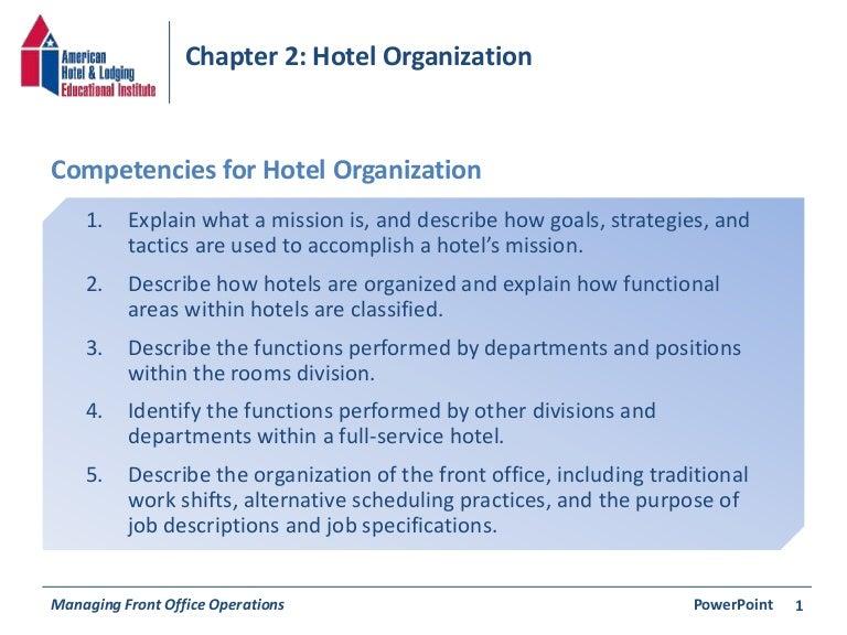 Chapter 2: Hotel Organization