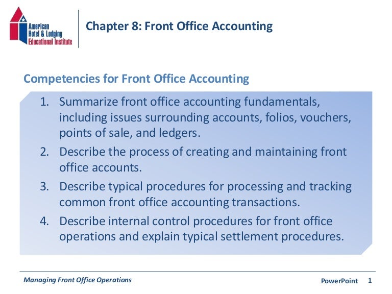 Chapter 8: Front Office Accounting