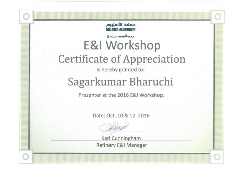 Ei workshop certificate of appreciation yadclub Images