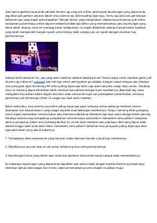 Sahabat Domino QQ Hadir Dengan Uang Asli Online