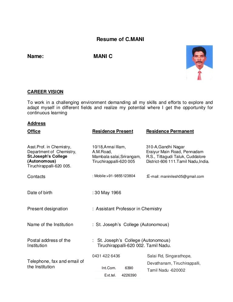 career vision for resume