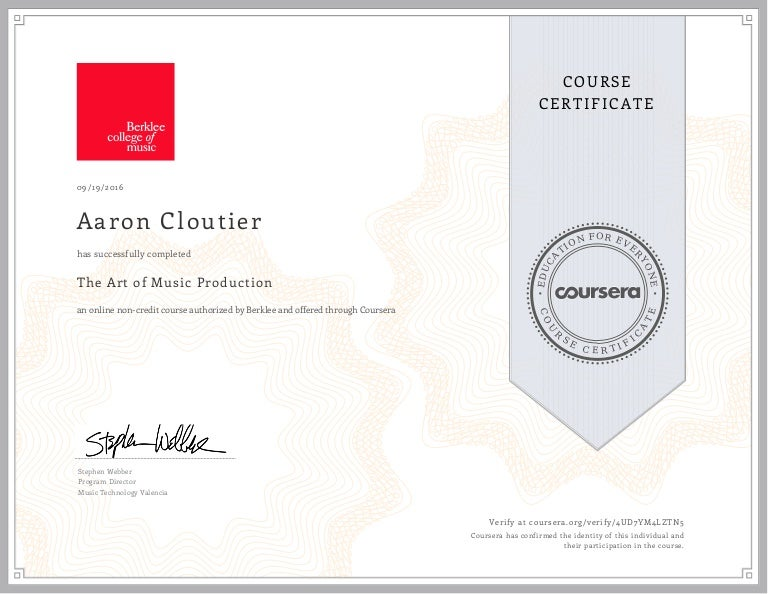 Coursera The Art Of Music Production Certification