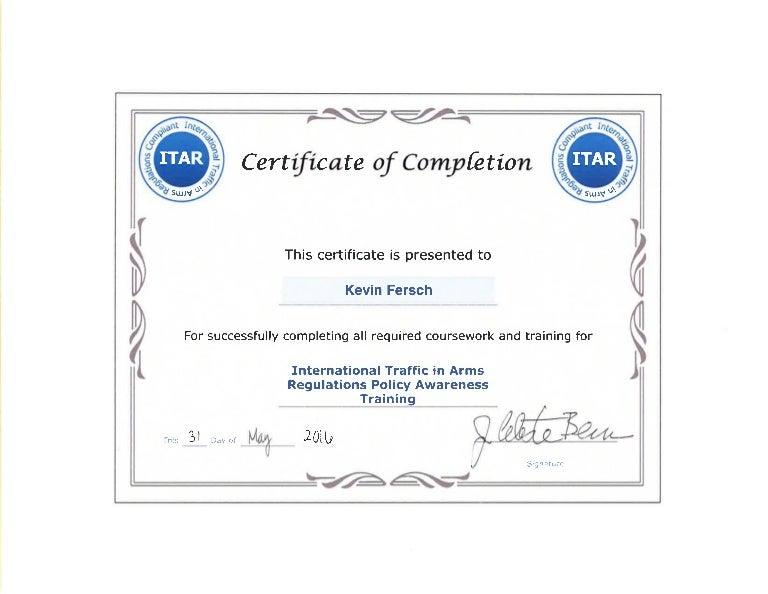 itar certificate