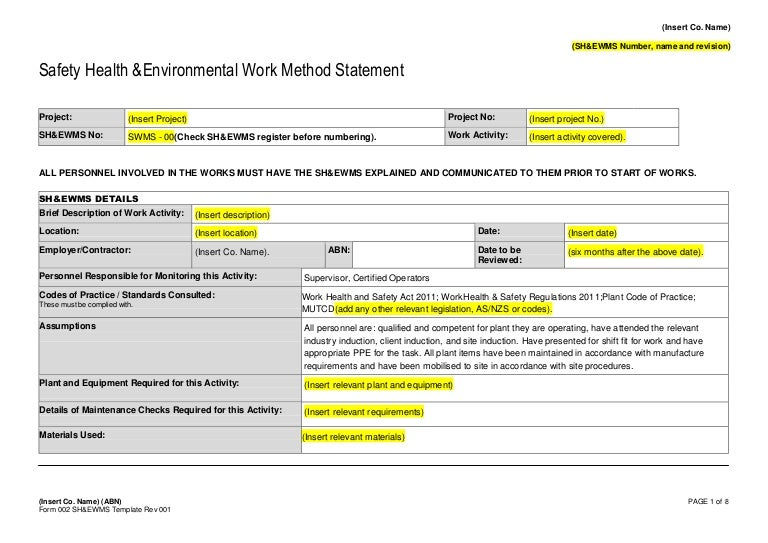 Form 002 Safe Work Method Statement Template – Health and Safety Method Statement Template