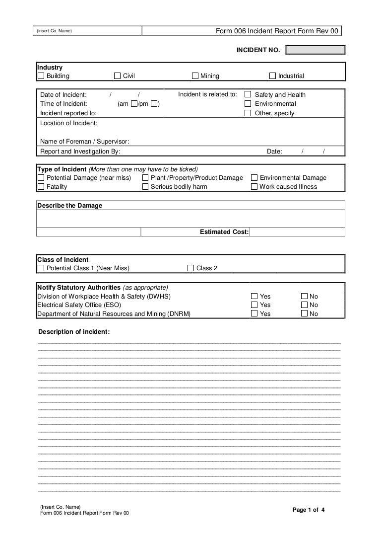 incident report form template excel - Romeo.landinez.co