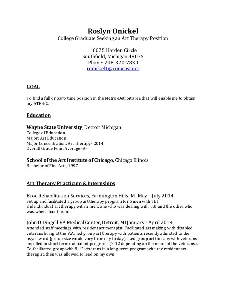 resume for art therapy