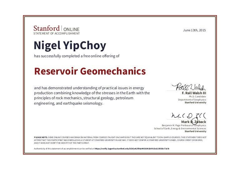 Stanford Geomechanics Certificate
