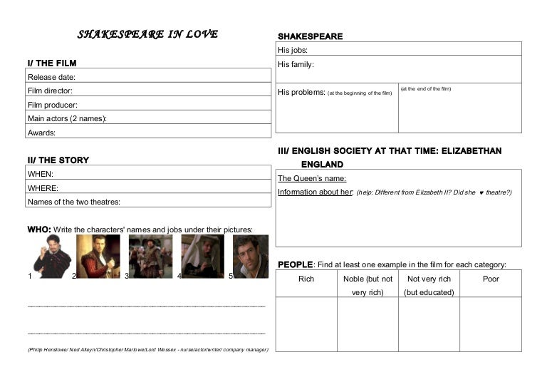 Shakespeare in Love - worksheet