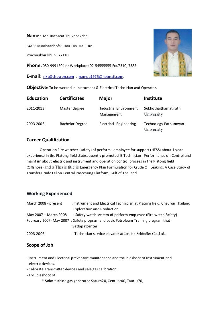 resume Resume Instrument Technician resume instrument electrical technician and operator
