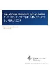 Enhancing Employee Engagement - The Role of the Immediate Supervisor
