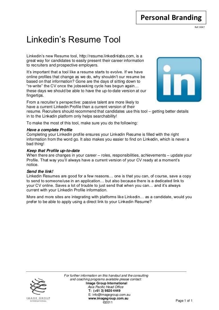 linkedin resume tool