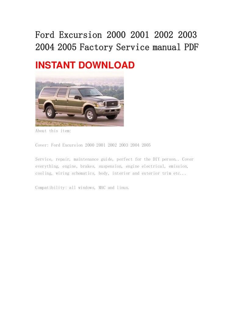 Ford Excursion 2000 2001 2002 2003 2004 2005 Manual Pdf