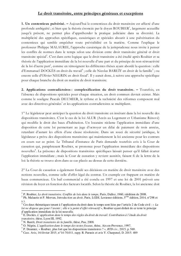 Projet De These Le Droit Transitoire
