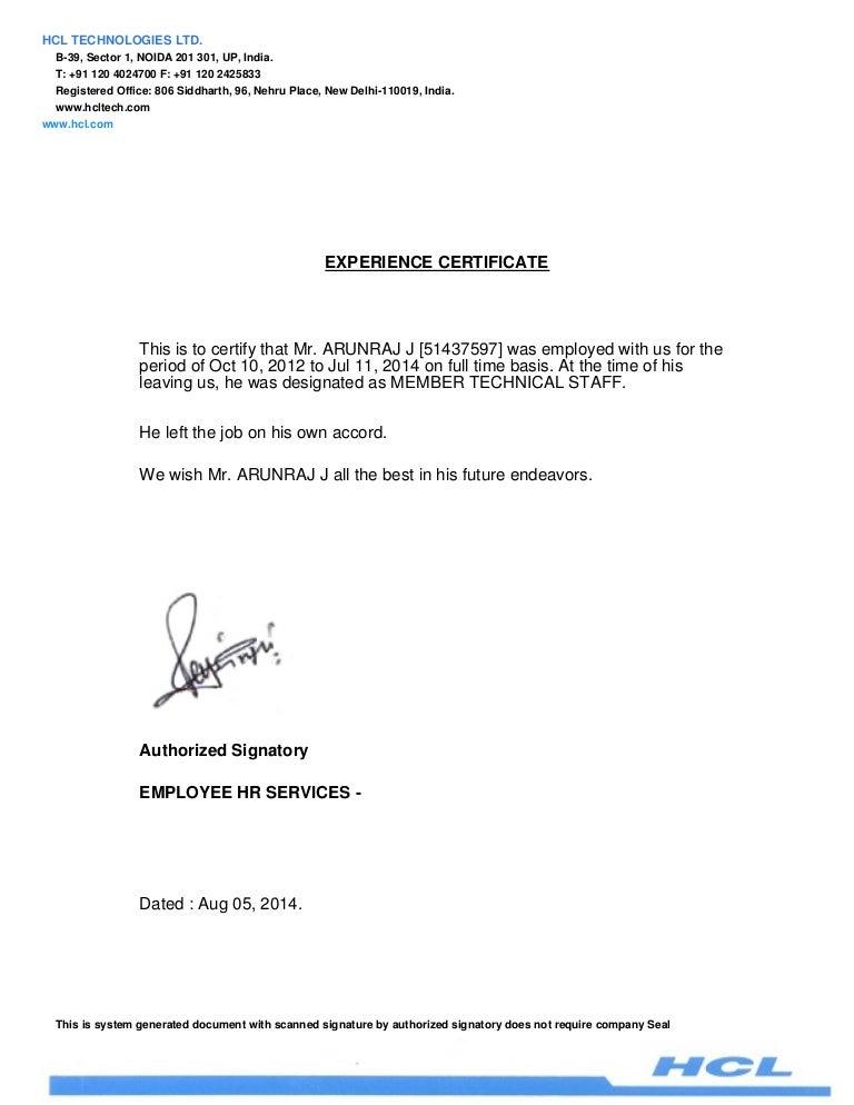 Sample Experience Letter Aildoc Productoseb Co