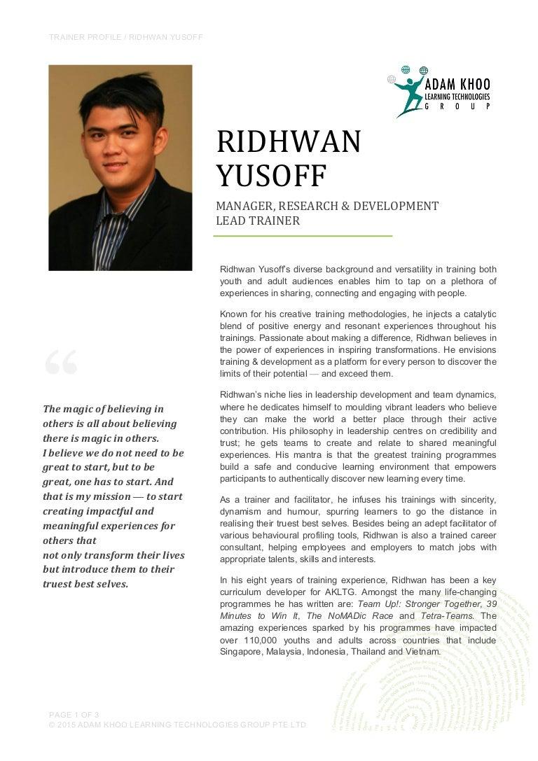 ridhwan yusoff trainers profile