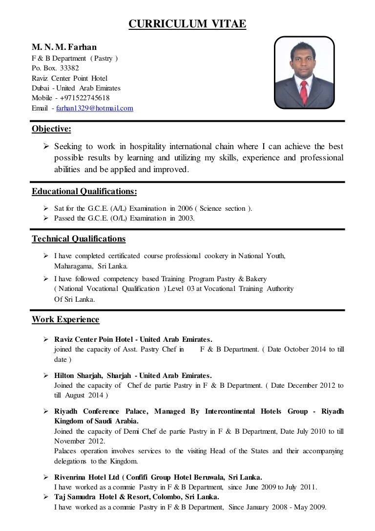 Example of cook resume