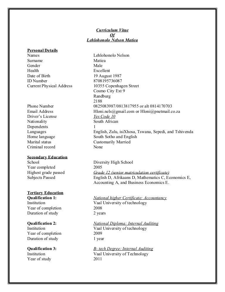 Lehlohonolo Nelson Matiea CV updated 11042016