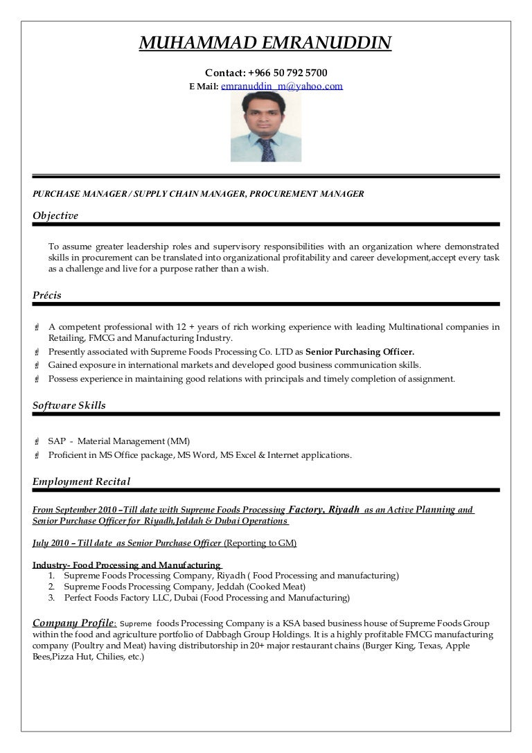 Sample Cv Purchase Executive Purchasing Resume Example