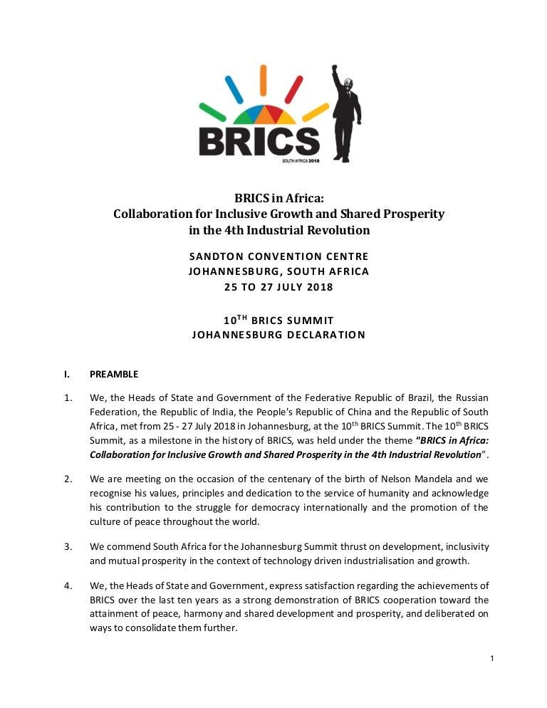 Brics Johannesburg Delcaration 2018