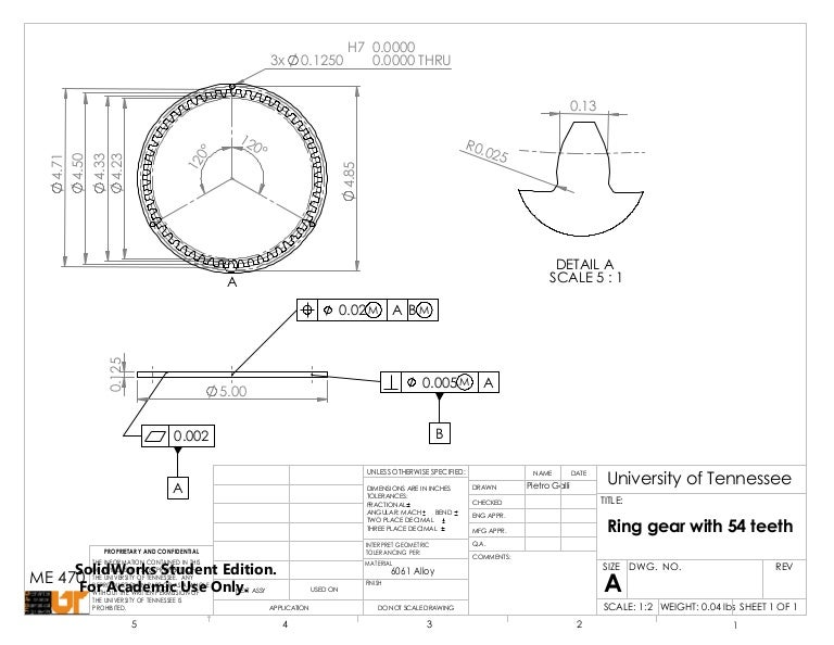 Engineering Drawing Of A Spur Gear