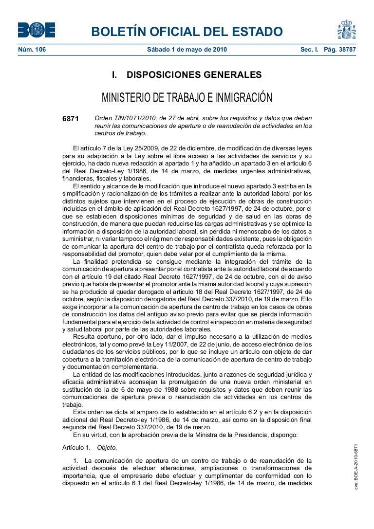 Orden TIN/1071/2010, de 27 de abril, sobre los requisitos y datos que…