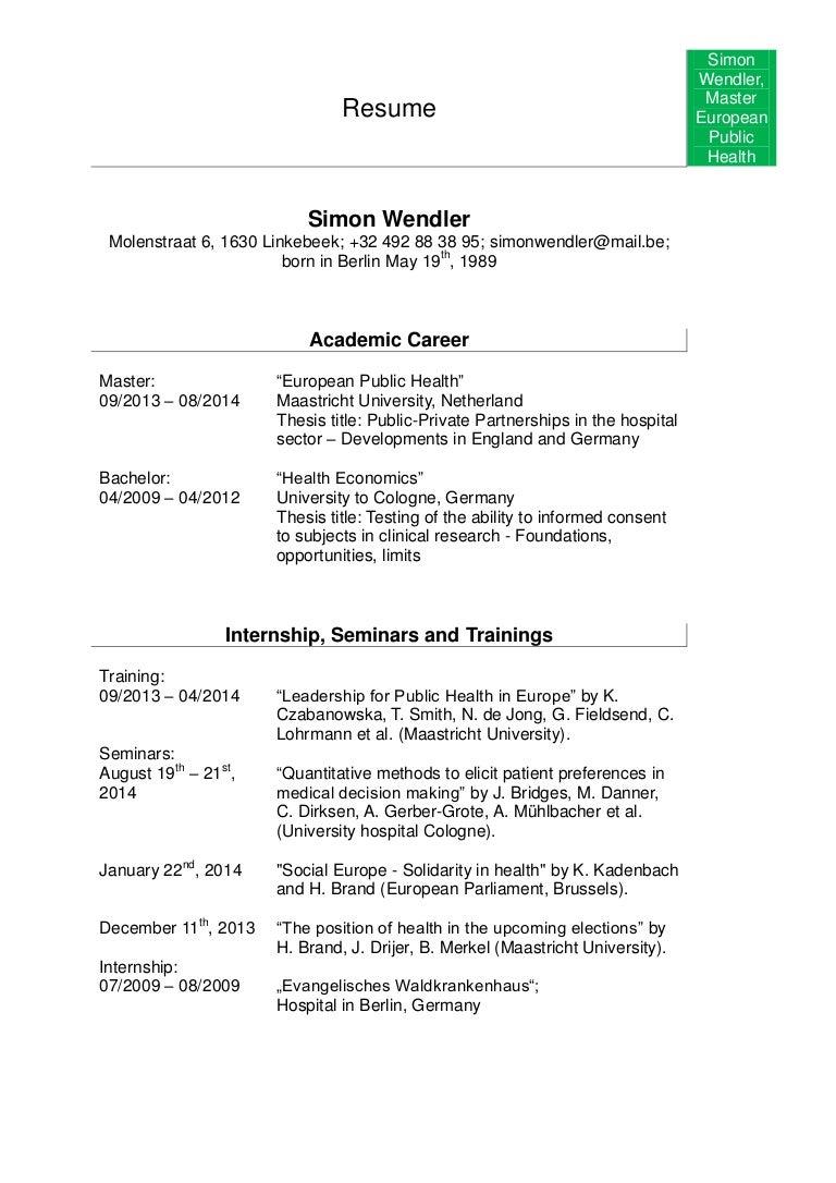 Resume Simon Wendler