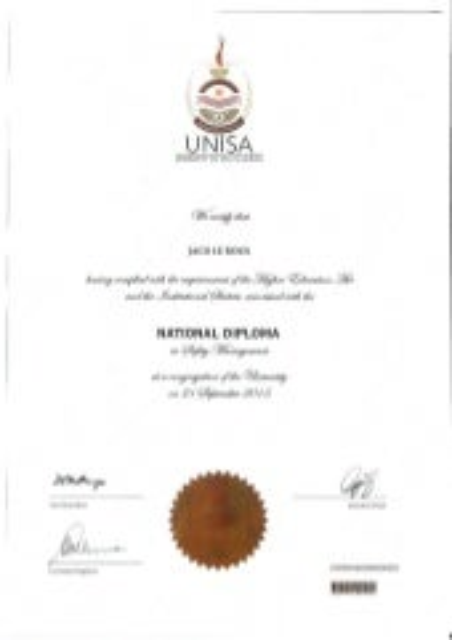 UNISA Certificate