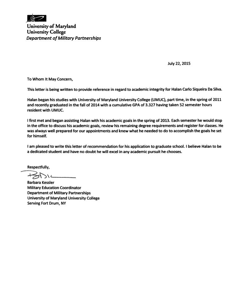 Letter Of Recommendation -Umuc
