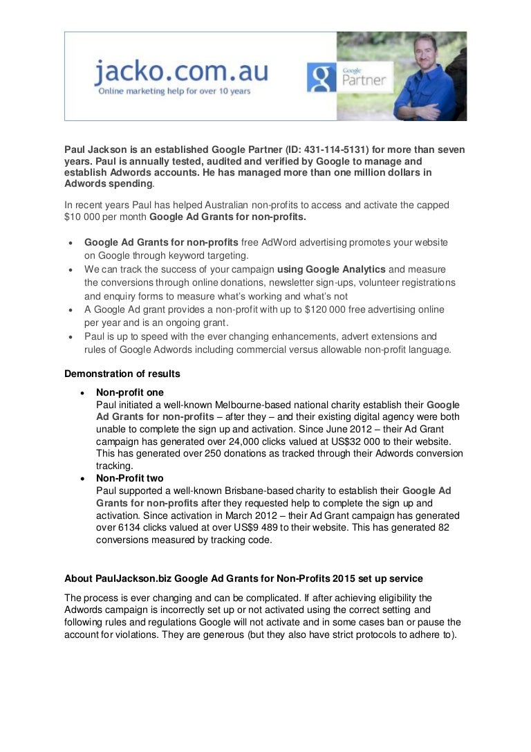 Google Non Profit Adwords Grants v3