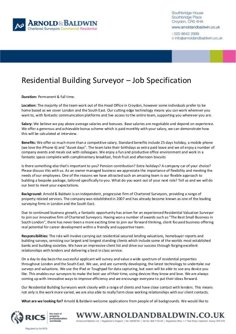 Residential Building Surveyor - Job Specification