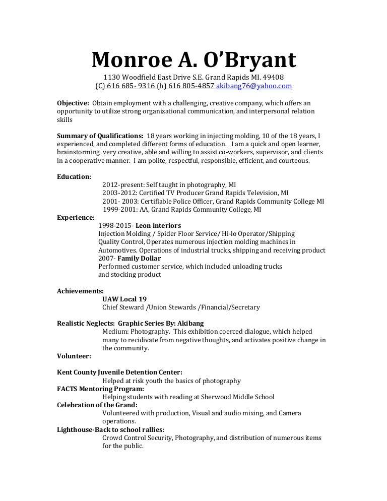 monroe a obryant job dual resume new updated - Chief Steward Resume