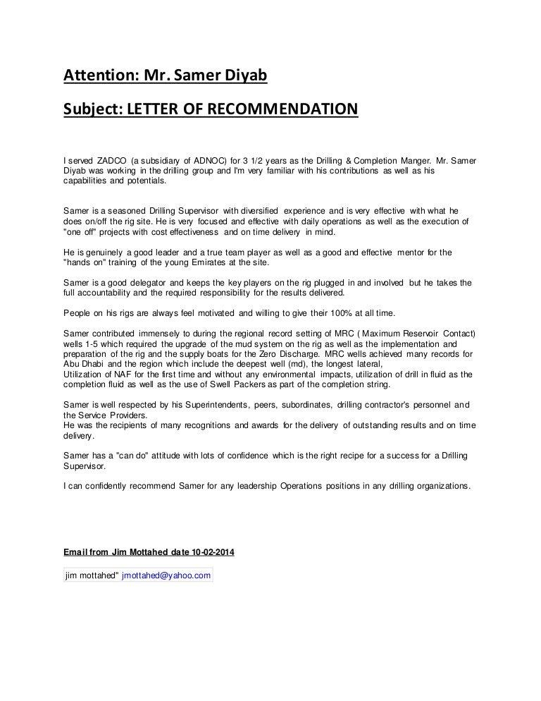 recommendation letter jim mottahed