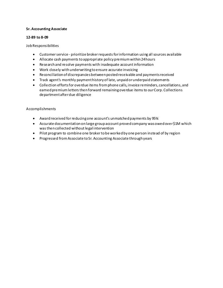 accounting associate job description - Template