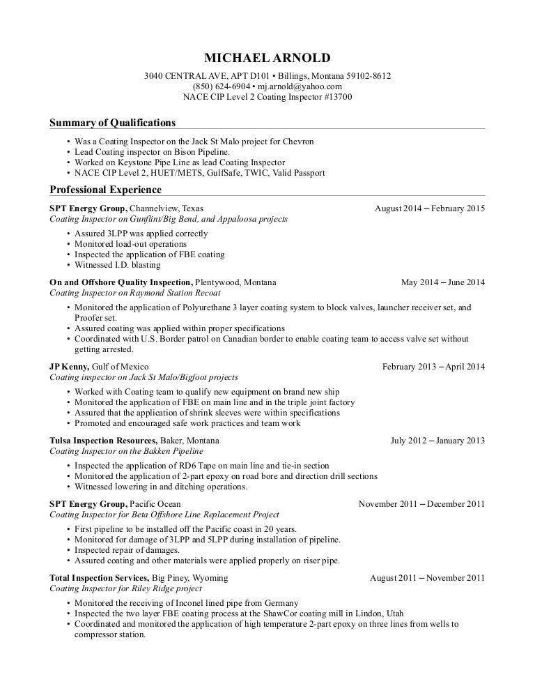 michael j  arnold u0026 39 s resume  nace cip level 2 coating inspector