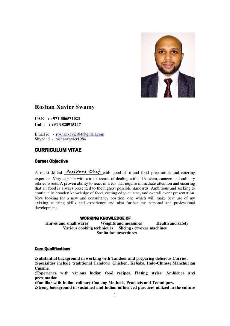 Indian Chef Roshan Xavier Resume